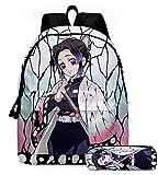Kamado Tanjirou Anime Mochila de 40,64 cm Demon Slayer Cosplay Mochila escolar con estuche para lápices, mochila para niños, niñas y adolescentes, Kochou Shinobu,