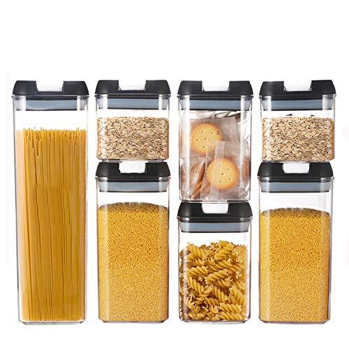 VIVILINEN 7pcs Tarro con Tapa de Almacenamiento Juego de Recipiente Hermetico Cocina Plastico Caja de Almacenamiento Cocina, Sin BPA,Botes Alimentos Mantener (0.5L*2+0.8L*2+1.2L*2+1.9L*1)