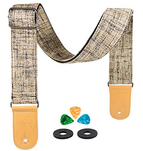 Tracolla Chitarra Classica per Acustiche Chitarre Elettrica e Basso Ukulele Vintage con Finitura in Pelle Microfibra Tasche per Plettri (marrone)