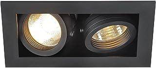 Slv kadux - Luminaria empotrar 2 gu10 cuadrado maximo 2x50w negro