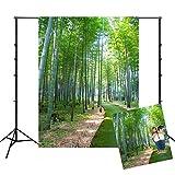 WQYRLJ Nature Extérieur Fond, Studio en Direct 3D Bannière Paysage Bambou Forêt/Gazon/Rivière Thème Toile De Fond, pour Studio Photographie Youtube Décorations Photo,B,10x10ft