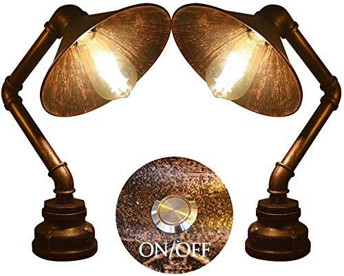 Lámpara de cama de tubería de acero industrial de la vendimia lámpara de noche de estilo de agua de acero rústico,Copper