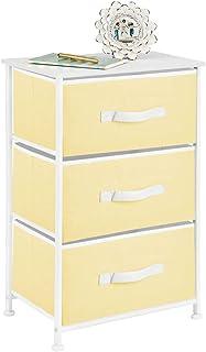 mDesign Mesita de noche con 3 cajones – Cajoneras para armarios fabricadas en tela metal y MDF – Cómoda pequeña decorativ...