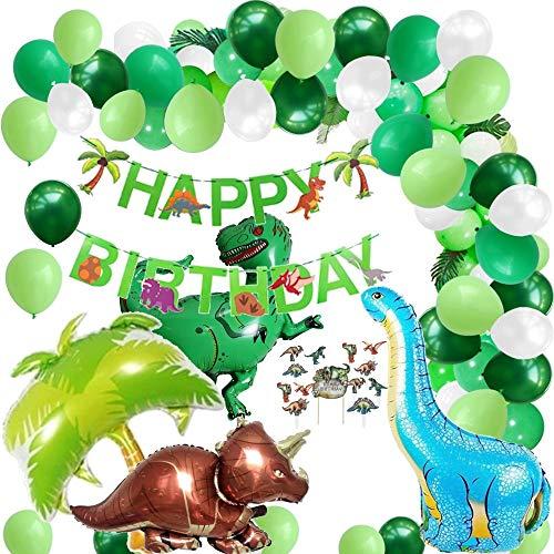 Layal Design Dschungel Dinosaurier Dino Party Deko Set | Geburtstagsdeko Geburtstagsdekoration Geburtstag Geburtstags Birthday Kindergeburtstag | Girlande Luftballons Folienballons