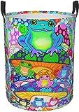 Setas psicodélicas coloridas Arte Circular Cesto de lavandería Cesta de almacenamiento redonda Organizador Bin