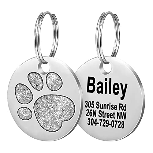 Fibernail Pet ID Tags, Personalized Dog Tags,Cat Tags,Custom Engraved,Easy to Read,4 Lines of Custom Text,Glitter Paw Pet Tag( Silver)