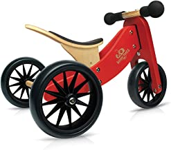 Kinderfeets TinyTot Wooden Balance Bike and Tricycle, Convertible No Pedal Balance Trike for Kids and Push Bike