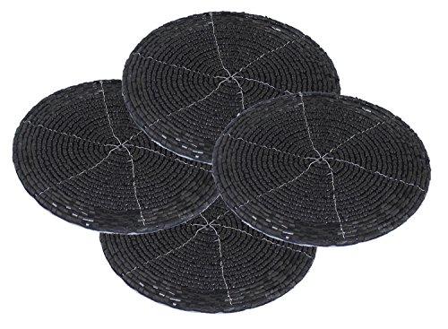 SKAVIJ Décor de noël Thé Coaster Lot de 4 - Perles de Verre à la Main Indiennes Table de Bar Noir - Maison Plateau de Meubles de Cuisine Russe - dia 10,2 cm