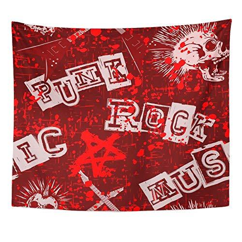 Decoración de pared Libro Pink Rock Abstract Red Grunge Punk Calaveras y guitarras Sábana de hueso Tapiz de lona Decoración para el hogar Colgante de pared para vivir 152X132cm