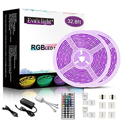 LED Strip Lights with Remote 32.8ft RGB 5050 300 LED Color Changing Light Strips with 44 Keys IR Remote for Home, Room, Bedroom, Kitchen Cabinet, Party, Christmas,DIY Decoration(Connectors Include)
