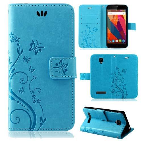 betterfon | Flower Hülle Handytasche Schutzhülle Blumen Klapptasche Handyhülle Handy Schale für ZTE Blade L5 Plus Blau
