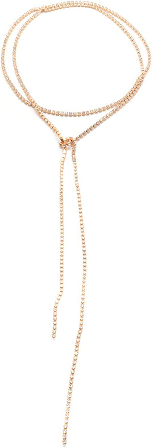 Ai Limei Fashion Strip Form Golden Lariat Necklace Suitable for Women and Girls