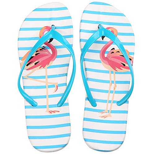 Damen Mädchen Fashion Flamingos Zehentrenner Hausschuhe Anti-Rutsch Flip Flops Sandalen Strandschuhe Blau 36-37 EU