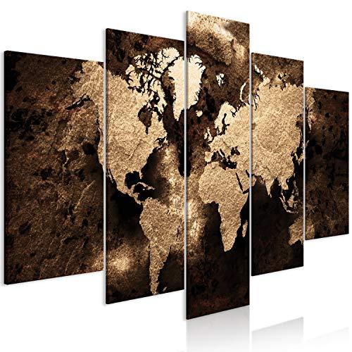 murando Cuadro en Lienzo Mapamundi 200x100 cm 5 Partes Impresión en Material Tejido no Tejido Cuadro de Pared impresión artística fotografía decoración World Map Abstracto Concreto k-A-0482-b-m