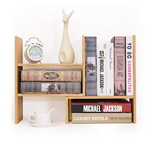 YEAKOO Bambus Schreibtischregal, Schreibtisch-Organizer, verstellbare Schreibtisch-Bücherregal, Ausstellungsregal, Mehrzweck-Display für Zuhause, Küche, Büro, Aufbewahrung, Bücher, Blumen und Pflanzen