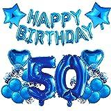 HONGECB 50er Cumpleaños Globos Azul, Globos De Confeti, Cumpleaños Decoraciones Para Chico y hombre, Numeros 50, Estrellas y Corazón, Pancarta De Happy Birthday Azul