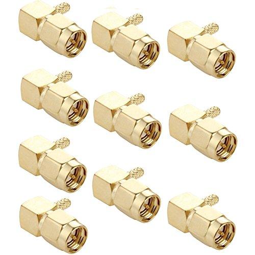 HUANGCAIXIA Computerzubehör 10 STÜCKE Vergoldete Crimp SMA Stecker 90 Grad Rechts Winkel RF Connector Adapter for RG174 / RG316 / RG179 Kabel