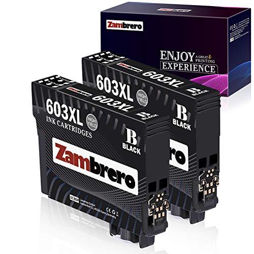 Zambrero 603 XL Reemplazo para Epson 603XL Cartuchos de Tinta Compatiable con Epson Expression Home XP-2100 XP-2105 XP-3100 XP-3105 XP-4100 XP-4105, WorkForce WF-2810 WF-2830 WF-2835 WF-2850 (2 BK)