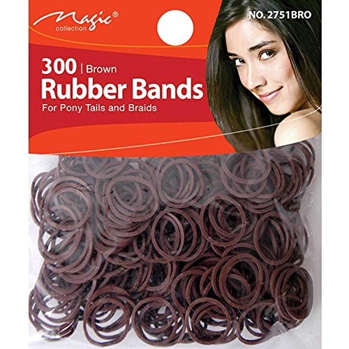 250 Small Brown Polyurethane Elastic Band styling hair plaiting and corn rows