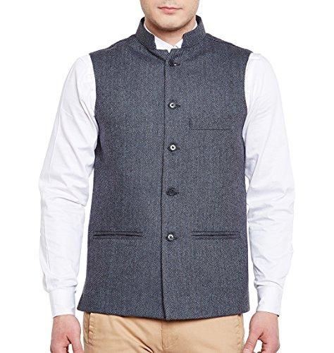 WINTAGE Herren Wollmischung Grandad Nehru Jacke Weste-Weste: Blau, 4XL