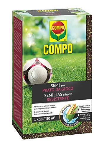 COMPO SEMI per Prato da Gioco, Miscela Speciale, Seme Ricoperto, Germinazione Rapida, Per un tappeto erboso resistente al calpestio e all'uso Intenso, 1 kg