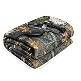 Sojoy Heated Smart Multifunctional Travel Electric Blanket with High/Mid/Low Temp with Timer Control (55'x 40') (Camouflage Face and Gray Fleece Reverse)