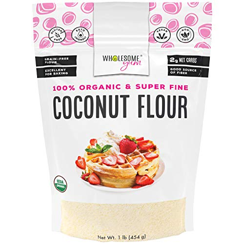 Wholesome Yum Premium Organic Coconut Flour (16 oz / 1 lb) - Gluten Free, Non GMO, Keto Friendly Flour Substitute For Low Carb Baking
