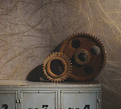 Tapete Gold Braun Grafisch Ovale Vliestapete Linien Geschwungen Wohnzimmer Colani Visions Made in Germany 10,05m X 0,70m 53323
