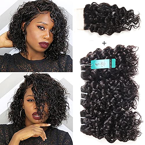 Malaysian Water Wave Bundles with Closure 12A Ocean Wave Wet & Wavy Human Hair Bundles with T Part Lace Closure 100% Human Hair Weave Extensions Remy Hair Bundles Water Curly Hair (8 8 8+8inch)