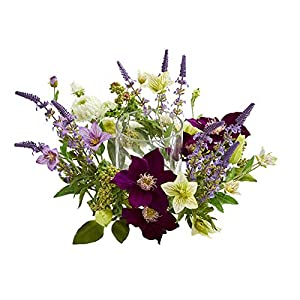 Nearly Natural Mixed Floral Artificial Candelabrum Silk Arrangements Purple