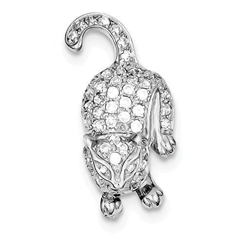 Broche de plata de ley con circonitas Pin de gato - JewelryWeb