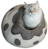 Earthtone Solutions Cat Cave Bed, Gray White Handmade Felted Wool, Large Covered Cozy Cocoon, Indoor Hideaway Igloo House, Also Perfect Kitten Gift (Cozy Pueblo)