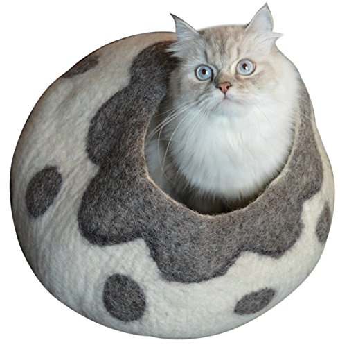 Earthtone Solutions Cat Cave Bed, Gray White Handmade Natural Felted Merino Wool,...