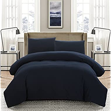 SUSYBAO 3 Pieces Duvet Cover Set 100% Natural Washed Cotton Navy Blue Queen Size 1 Duvet Cover 2 Pillowcases Luxury Quality Ultra Soft Breathable Durable Fade Resistant Bedding set with Zipper Ties