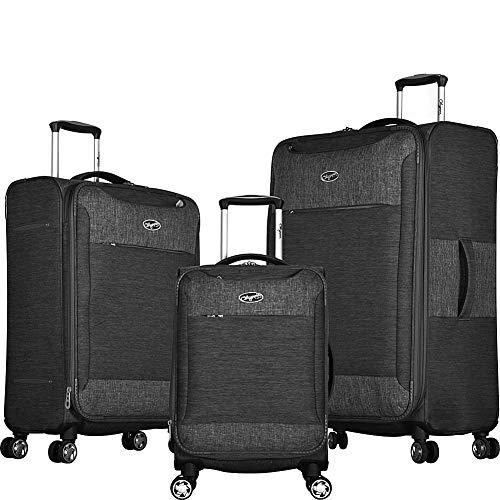 Olympia USA Denim 3-Piece Expandable Spinner Luggage Set with Aluminum Locking Handle - Gray