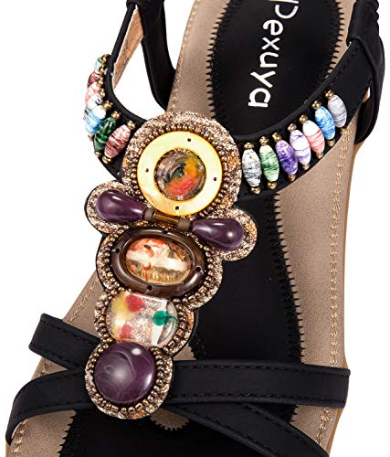 Damen Sommer Sandalen, Schwarz - 3