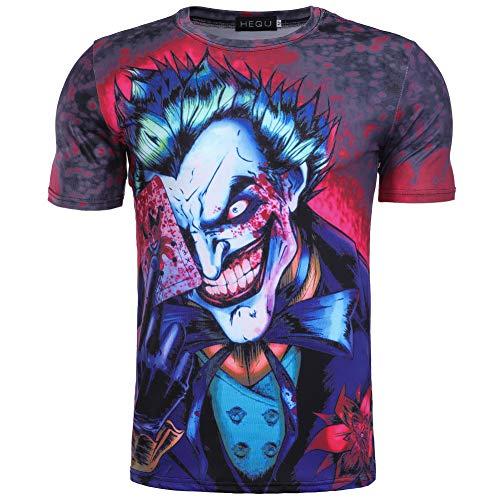 lady bug Camiseta de hombre y mujer Joker Poker Dark Knight 3D Digital Color Print Manga Corta Cuello Redondo Casual Sport T-Shirt