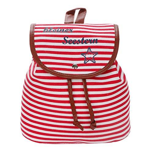 Sonia Originelli XS Rucksack Kleiner Seestern Streifen Maritim Daypack Farbe Rot-Marine