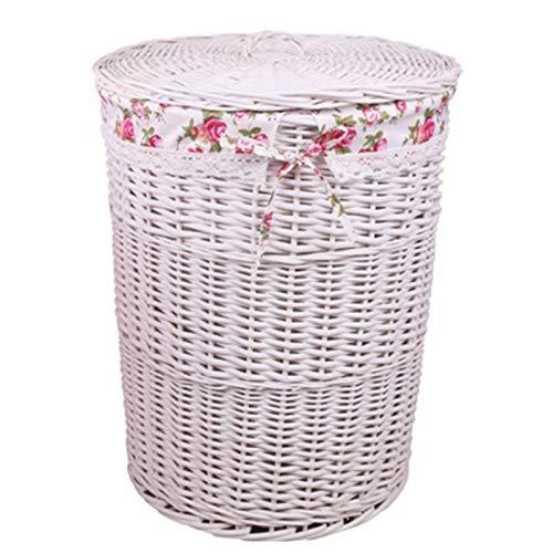 Yipianyun Geflochtene Wäschekorb, Aufbewahrungsbox Aus Rattan Korb Mit Deckel Design Tägliches Geschenk Erhältlich,Weiß