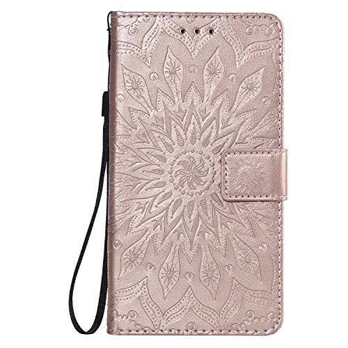 Jeewi Hülle für LG X Power 2 / M320N Hülle Handyhülle [Standfunktion] [Kartenfach] [Magnetverschluss] Tasche Etui Schutzhülle lederhülle flip case für LG X Power2 - JEKT031854 Rosa Gold