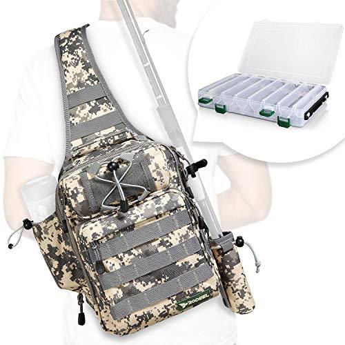 Rodeel Fishing Sling Backpack with Tackle Box, Outdoor Single Shoulder Gear Storage Bag, ACU