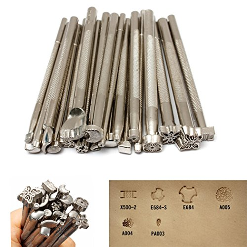 20pcs Leather Stamping Tools Leather Working Saddle Making Stamps Tool Leather Stamp Punch Set