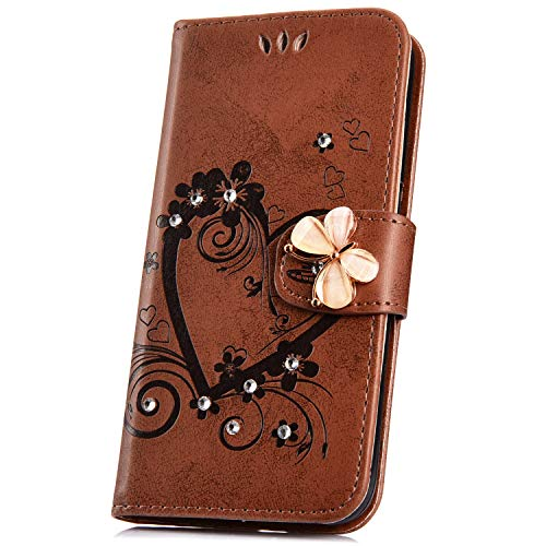 JAWSEU Compatible avec Samsung Galaxy J6 2018 Coque Portefeuille PU Étui Cuir à Rabat Magnétique Coeur d'amour Bling Glitter Brillant Papillon Fleur Diamant Strass Leather Flip Wallet Case