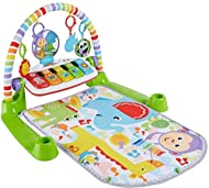Infant activity gym with 4 ways to play as baby grows: Lay & play, Tummy time, Sit & play, Take along Smart Stages learning content introduces animals, colors, shapes, numbers and real piano notes Large keyboard with 5 light-up keys, removes for take...
