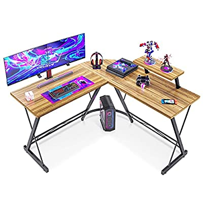 "L Shaped Gaming Desk, 51"" Home Office Desk with Round Corner Computer Desk with Large Monitor Stand Desk Workstation,Sandalwood from Casaottima"