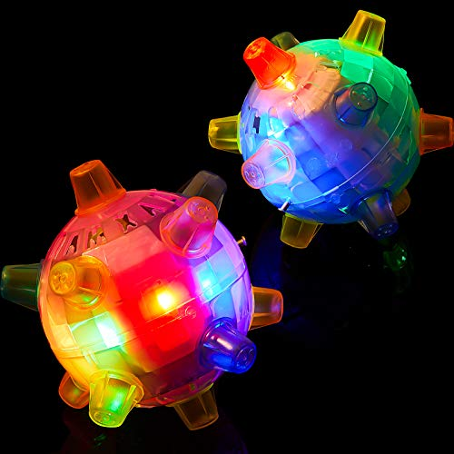 2 Pieces Dog Flashing Jumping Ball Jumping Activation Balls Colorful Pet Creative Flashing Dancing Ball with LED Light and Music Flashing Dog Toy for Indoor and Outdoor Garden Pink and Blue