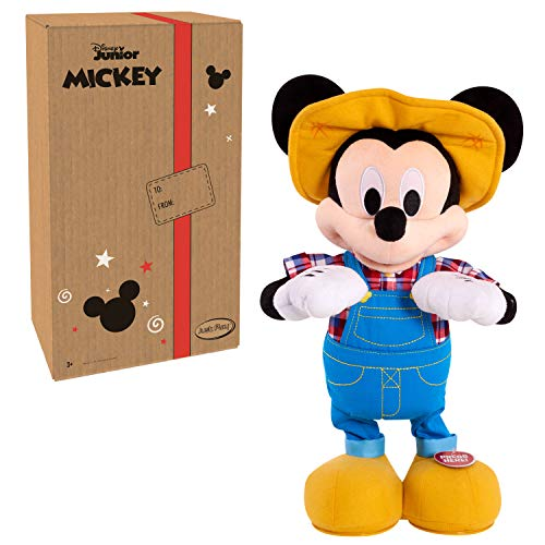 """Disney Junior E-I-Oh! Mickey Mouse, Interactive Plush Toy, Sings 'Old MacDonald' and Plays """"What Animal Sound is That?"""" Game"""
