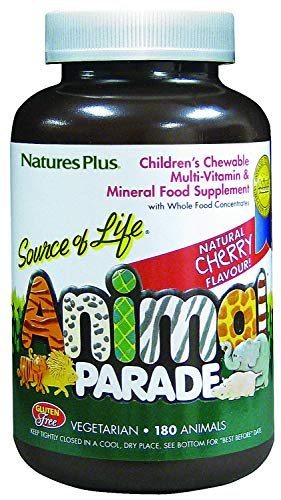 NaturesPlus Animal Parade Source of Life Children's Multivitamin - Natural Cherry Flavour, Chewable Animal Shaped Tablets - Gluten Free (Cherry, 180)