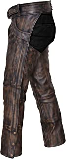 men's distressed brown leather motorcycle chaps