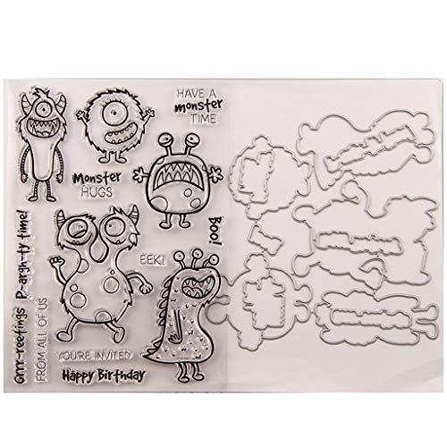 Kcibyvx Monster Silikonstempel + Stanzschablonen Metall Schneiden Schablonen für DIY Scrapbooking Album, Schneiden Schablonen Papier Karten Sammelalbum Dekor
